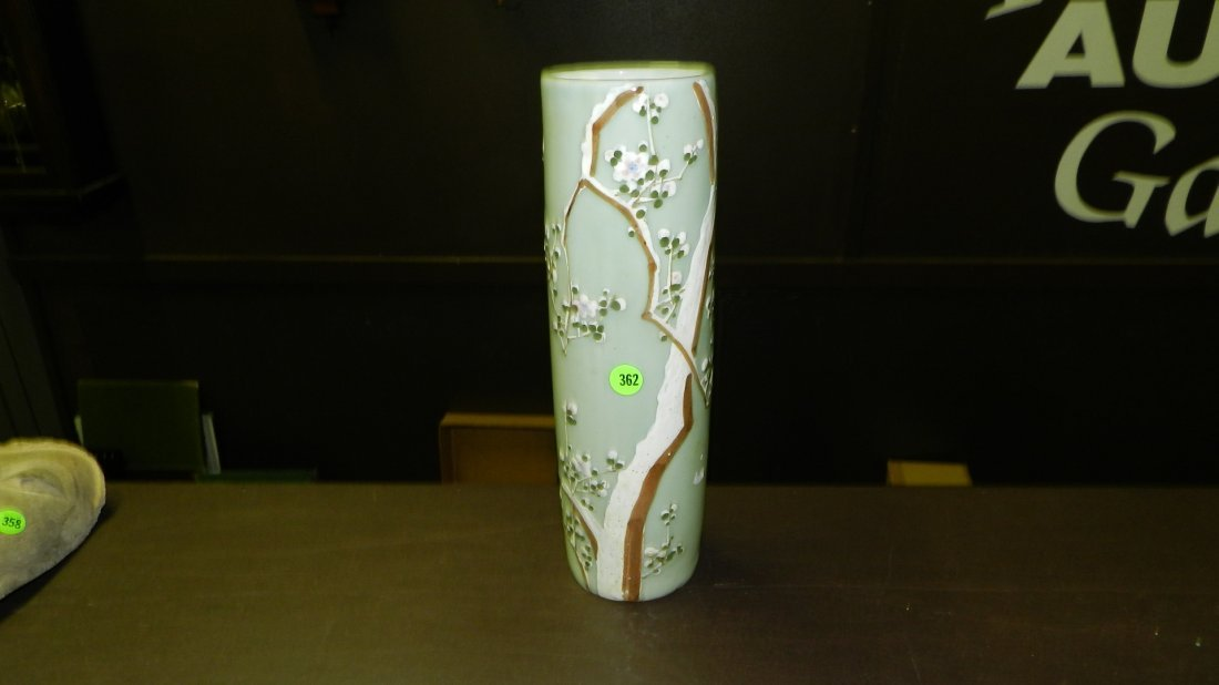 362: Japanese Celadon vintage tall cylindrical vase, wi