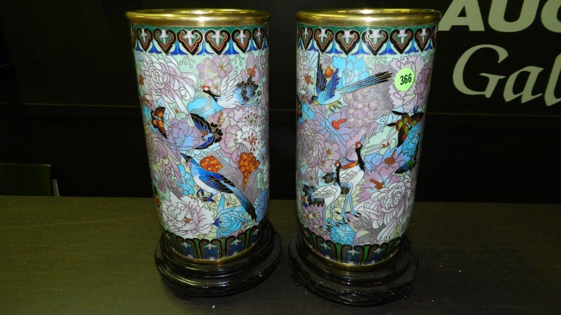 366: 2 piece wonderful Chinese Cloisonne cylinder vases