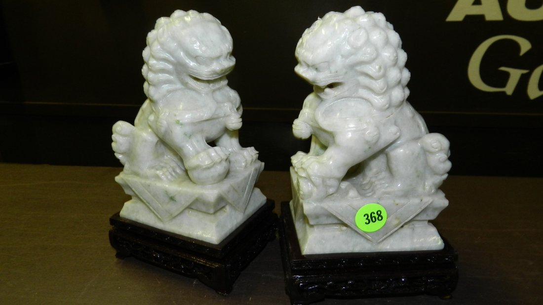 368: 2 piece Chinese jade? soapstone carved fierce look