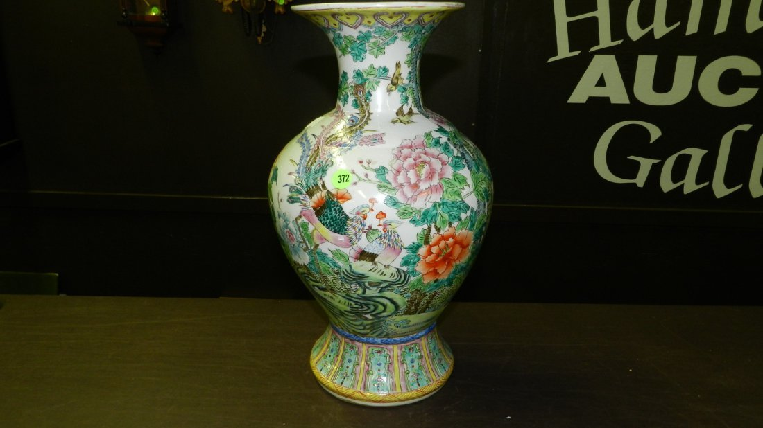 372: Chinese Famille bird and floral painted vase, nice