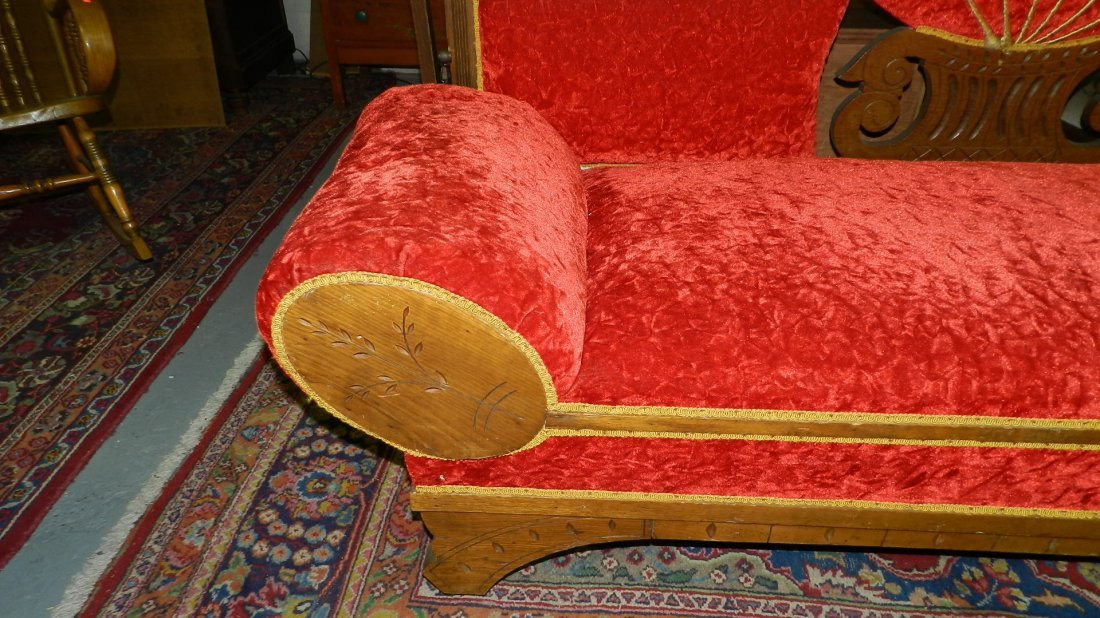 381: stunning antique fainting sofa, with carved back r