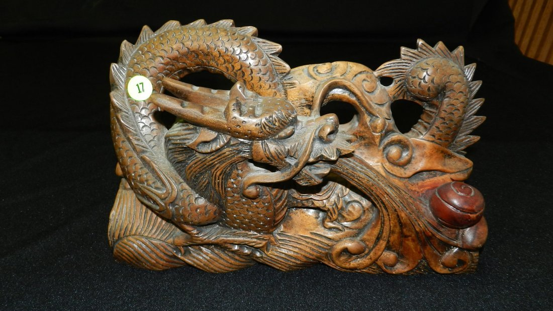 17: nice detailed wood carved Asian dragon 7 1/2 x 11