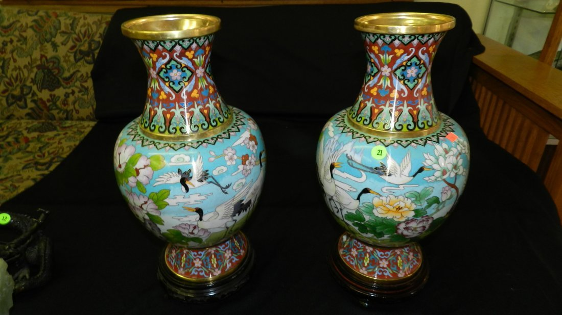 21: 2 piece stunning Asian cloisonne crane vases with s