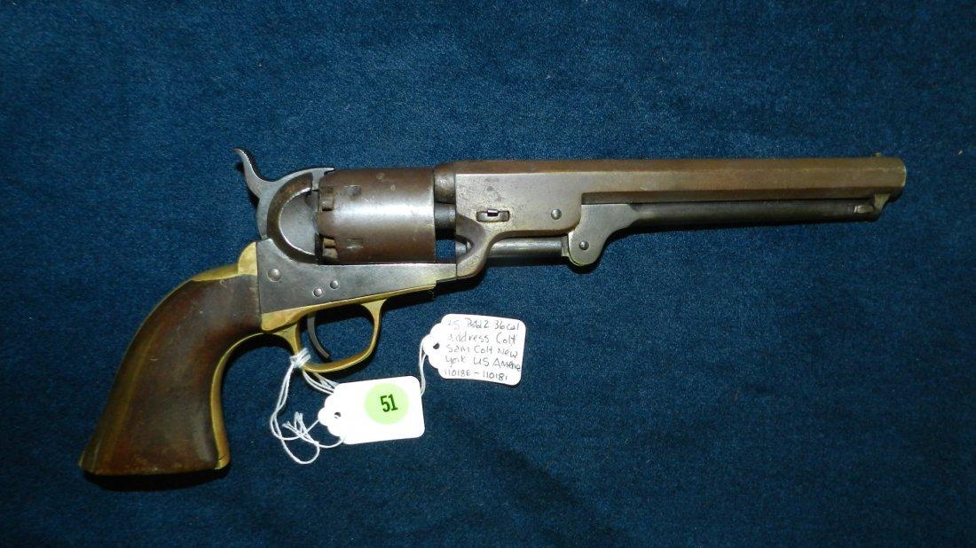 51: rare US Colt civil war era pistol 36 cal
