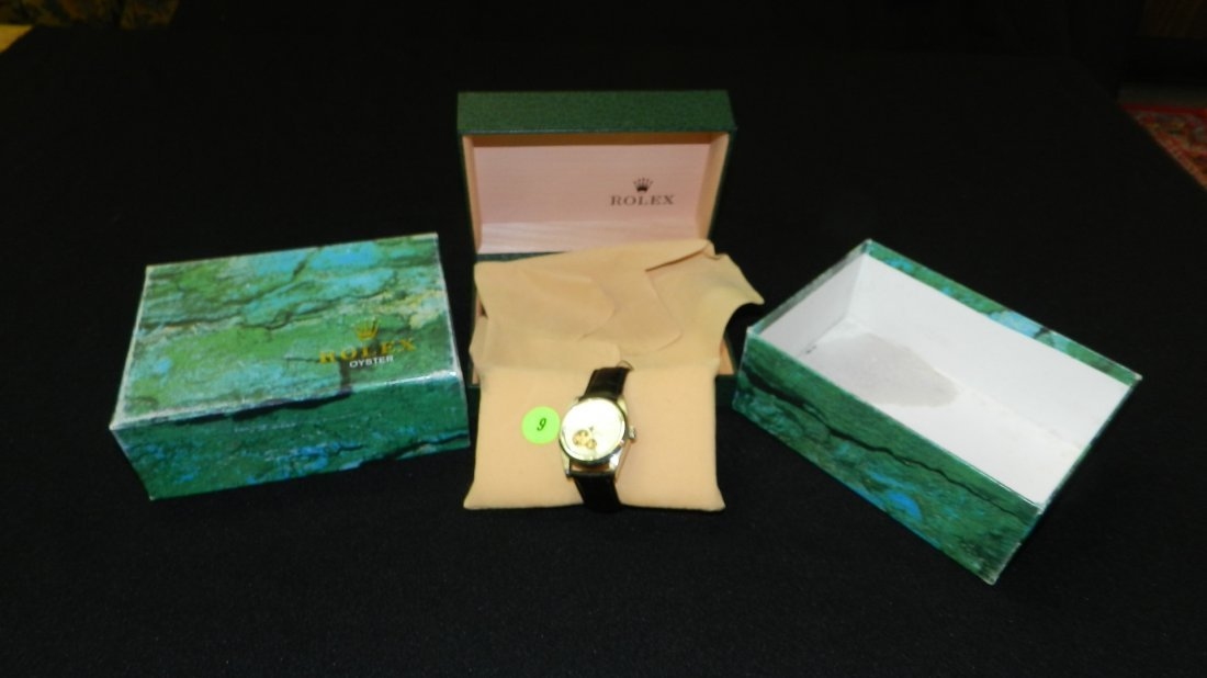 9: nice mans Rolex? wrist watch with box, skeleton face