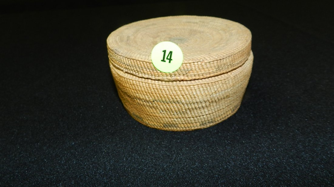 14: antique Native American Makah tribe basket with lid