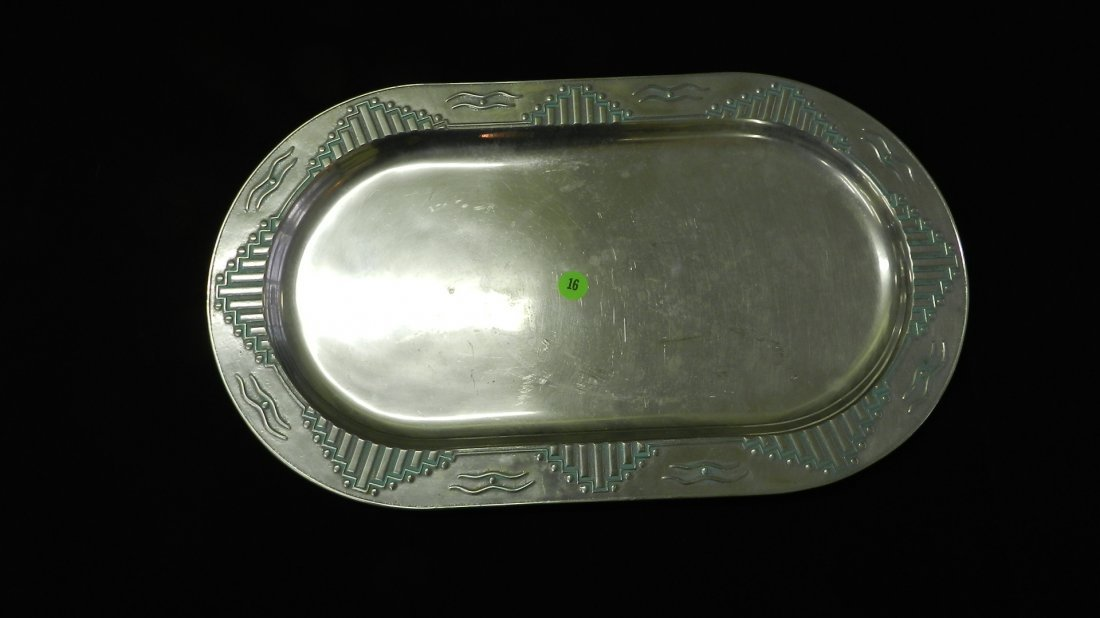 16: signed Wilton pewter deco style serving tray