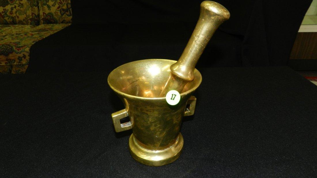 17: heavy brass mortar and pedestal
