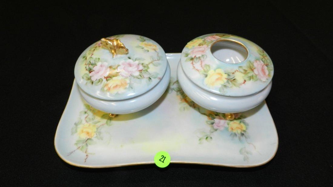 21: 3 piece porcelain Limoges dresser set