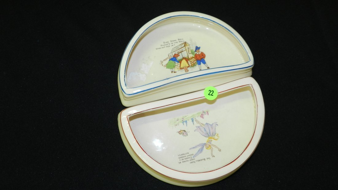 22: 2 piece child's half moon serving bowls by H&K Engl
