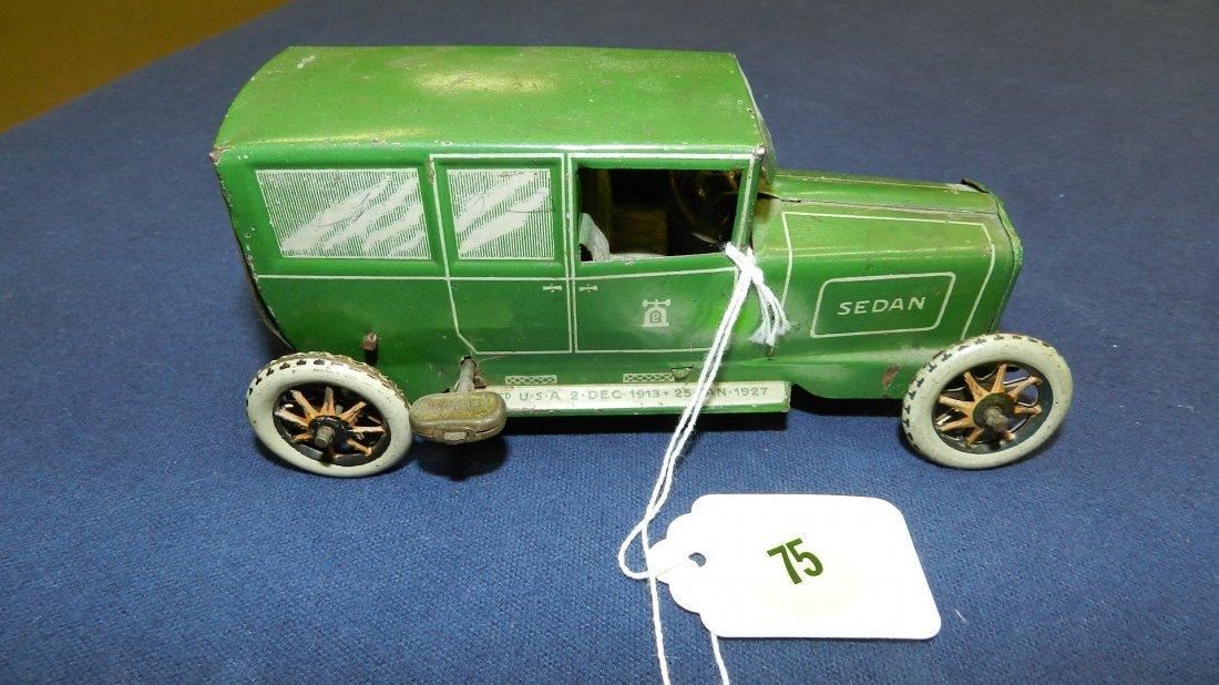75: Rare Lehmann toy tin wind up car sedan #765