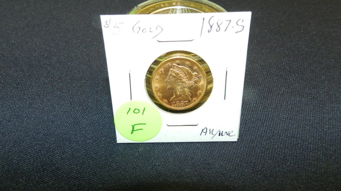 101F: Great US Gold Five Dollar Liberty coin 1887-S