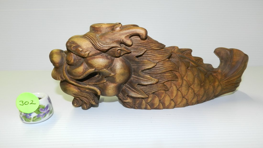 Asian wood carved dragon / Mythical creature / figurine