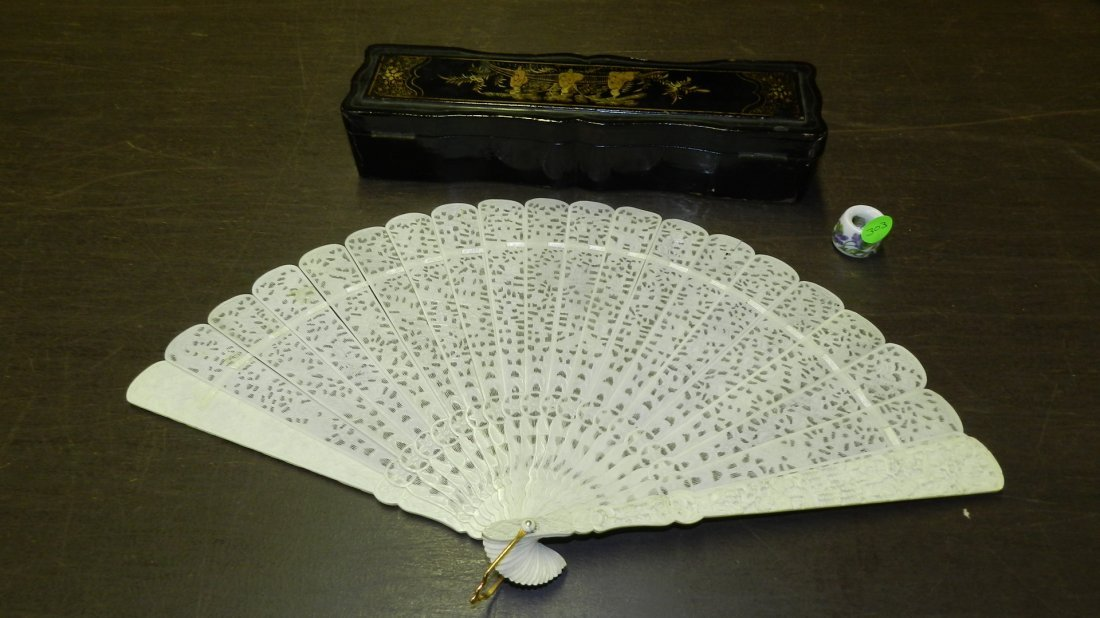stunning Asian carved Ivory fan with village scene & bl