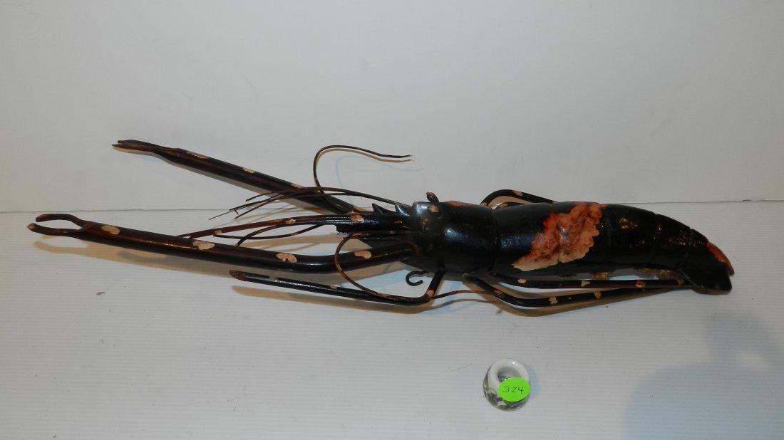 vintage Japanese? wood carved lobster figurine, cond G,