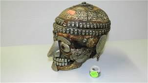 Rare Kapala sacred skull decorated in semi precious sto