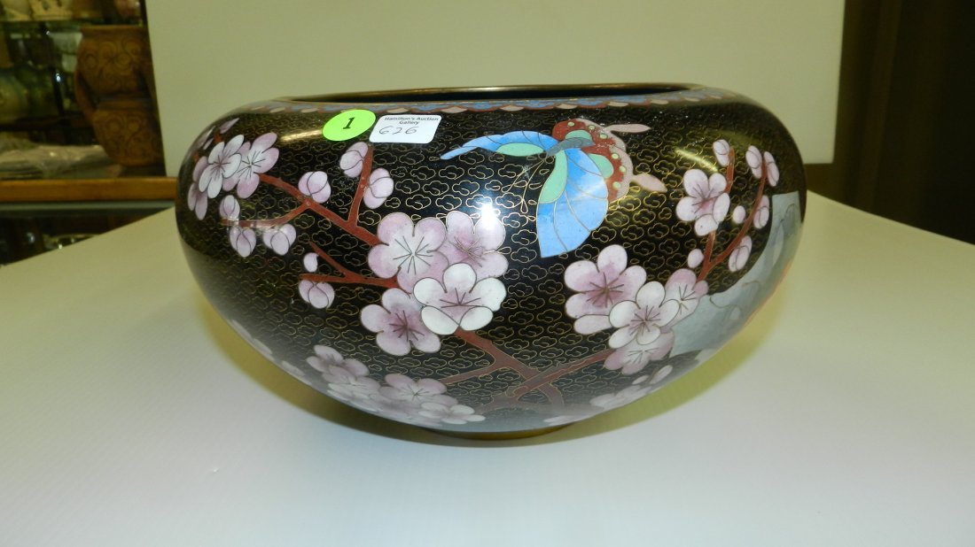 lovely Cloisonne large bowl with flowers, butterfly, tr