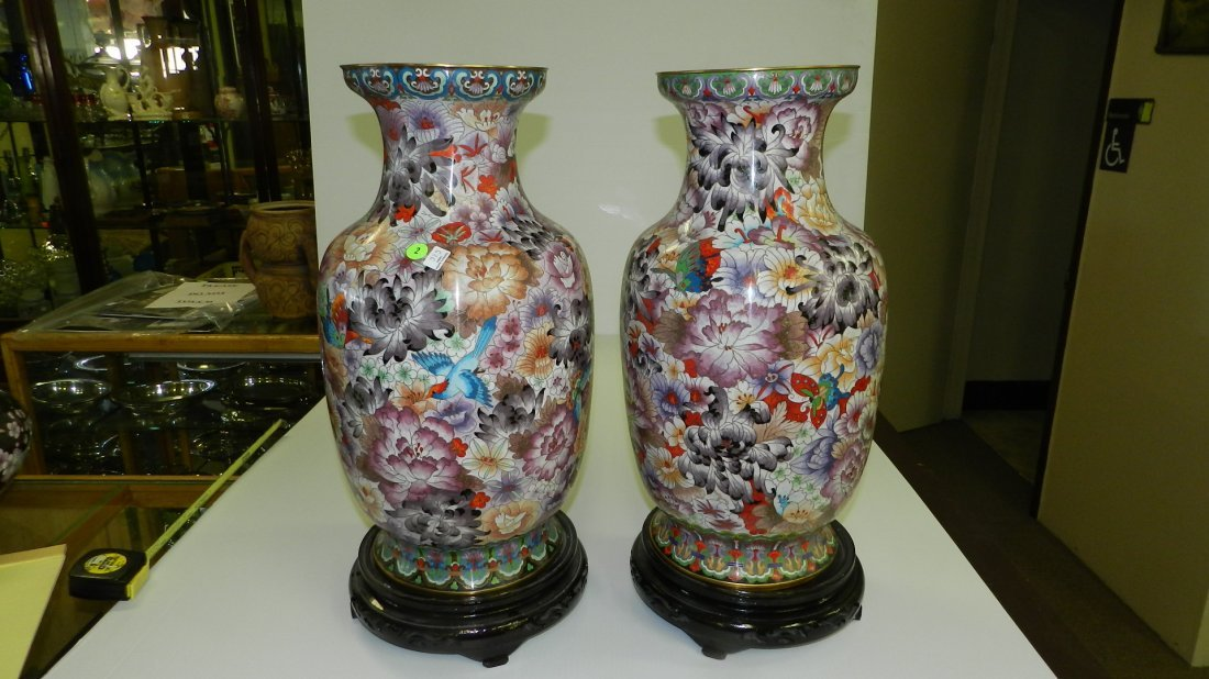 2 piece lovely Cloisonne large vases on wooded base w/