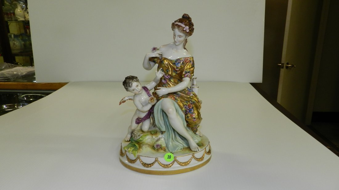 amazing porcelain Volkstedt  figure with young la