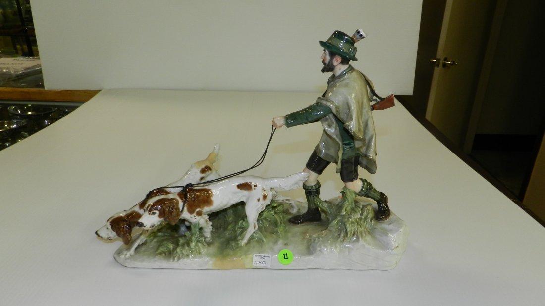 lovely Meissen crossed swords porcelain hunter with dog