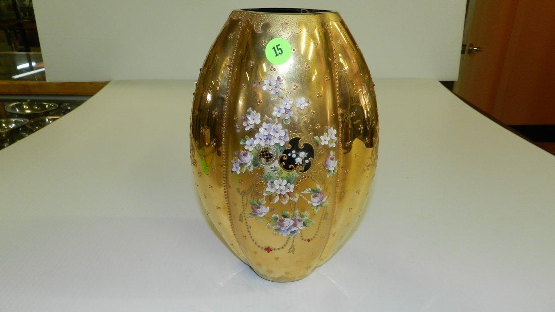 CZECH BOHEMIAN GREEN ART GLASS VASE W/ GOLD ENAMEL & HA
