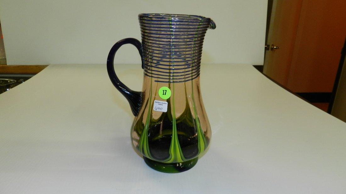 signed art deco era czechoslovakian art glass pitcher w
