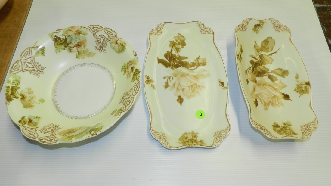 3 pc Old Ivory Silesia painted porcelain serving dishes