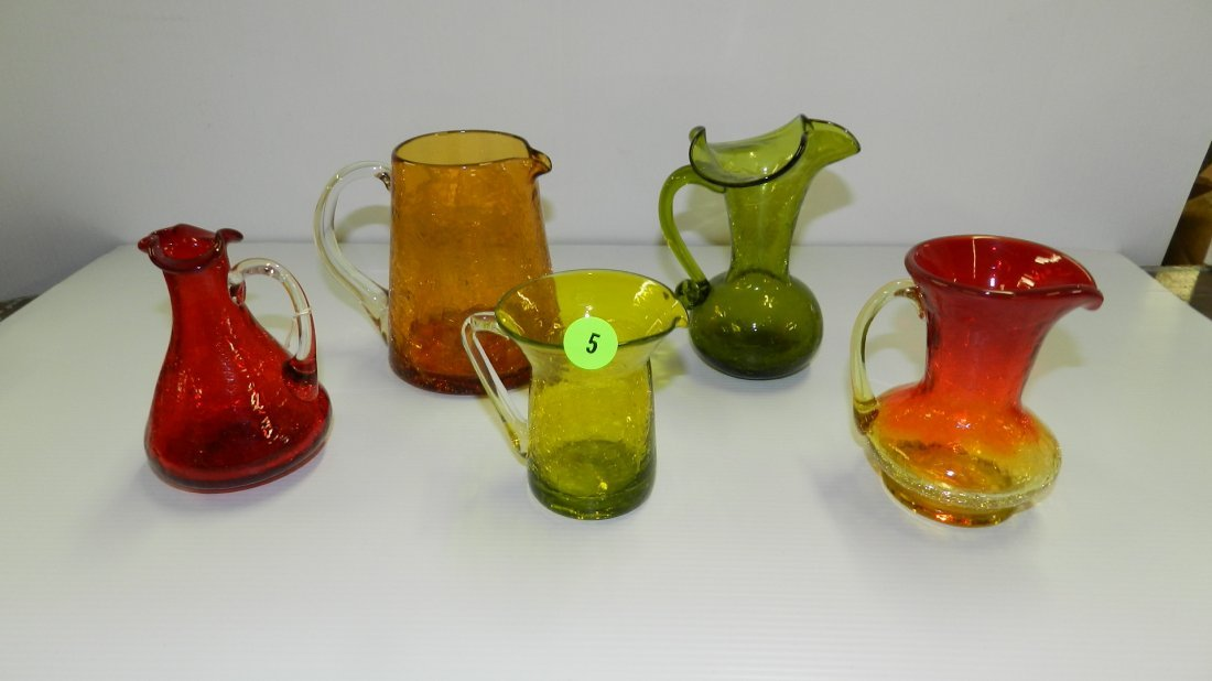 Group of Vintage crackle glass cream pitchers, Cond. VG