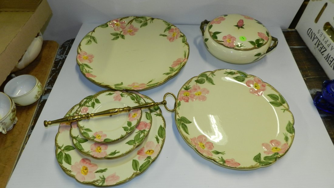 Collection of Franciscan Desert Rose china serving piec