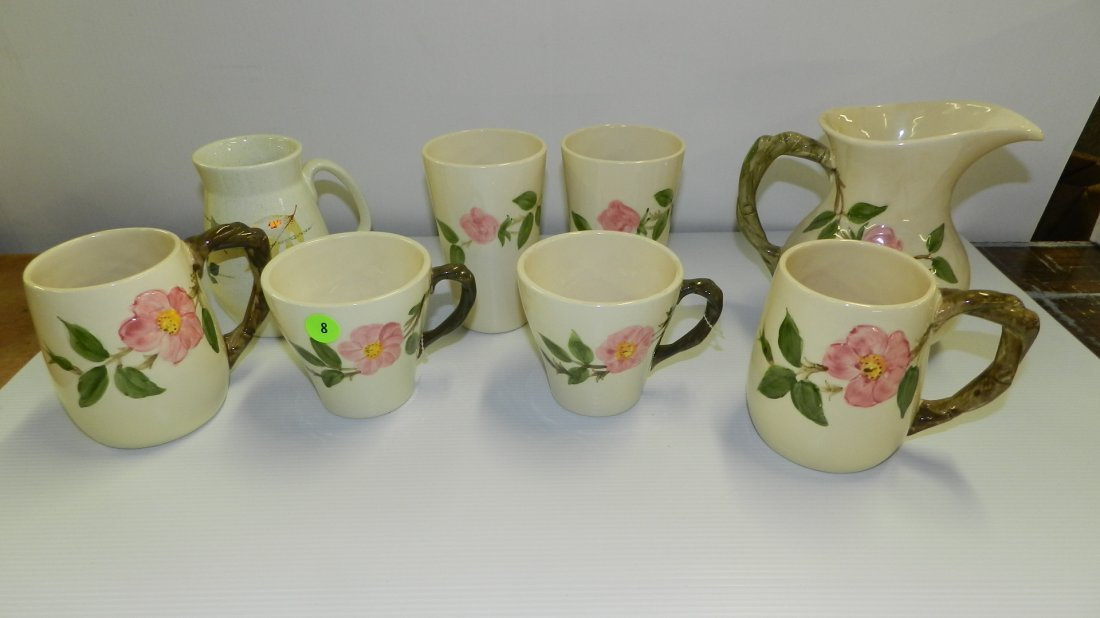 Collection of Franciscan Desert Rose cups & pitcher. Co