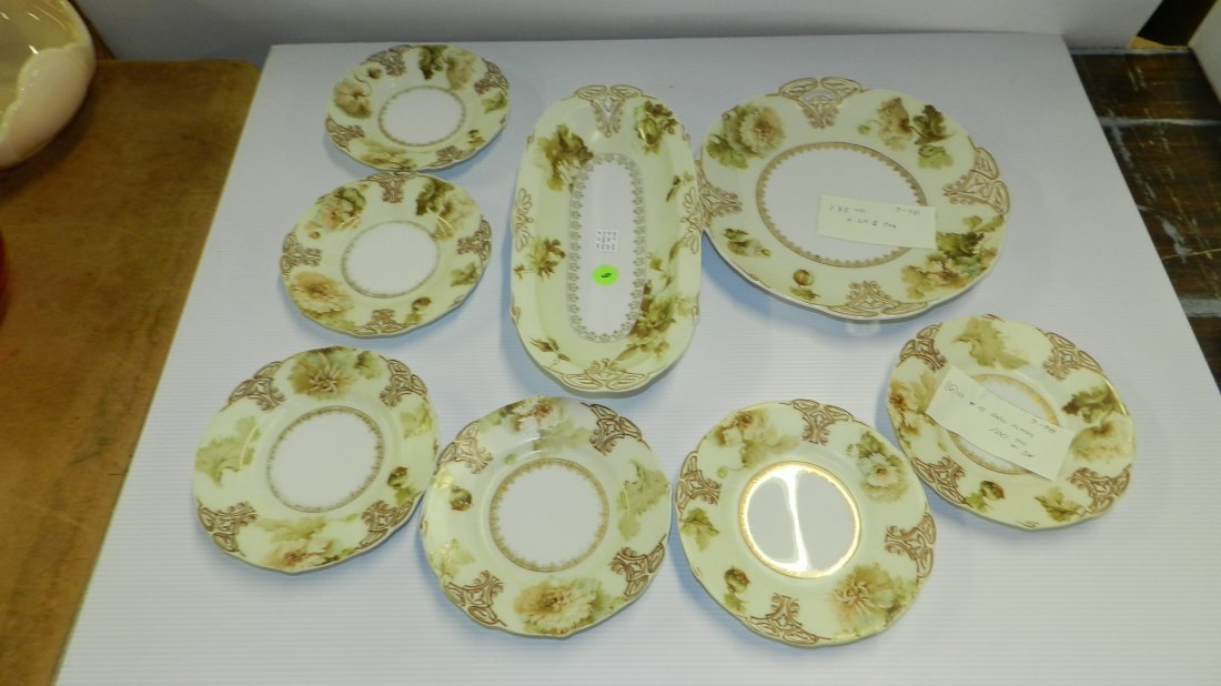 Collection of Old Ivory Silesia porcelain china, desser