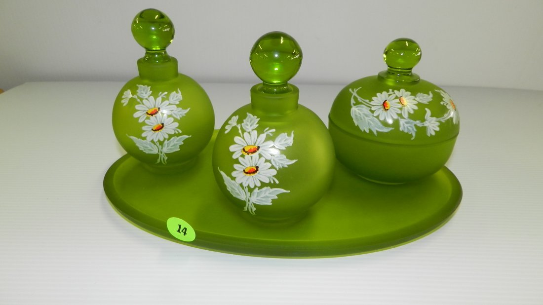 Rare hand painted Westmoreland 4 pc. Vanity/Toiletry se