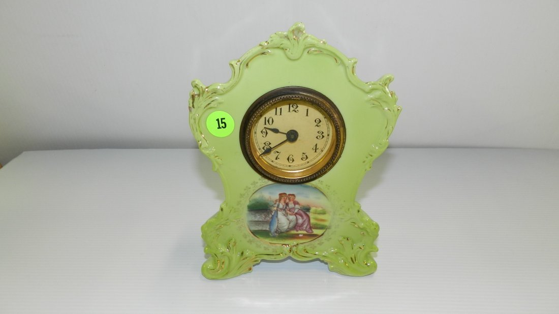 Antique porcelain painted wind up mantle clock (small)