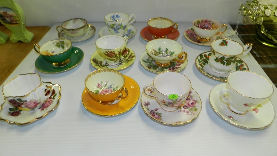 Large collection bone china cup & saucers