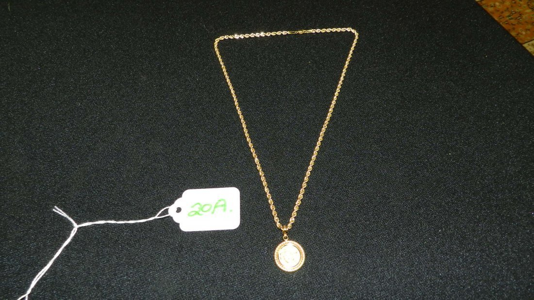 Lovely ladies stamped 14K Gold necklace with 1/20 .999