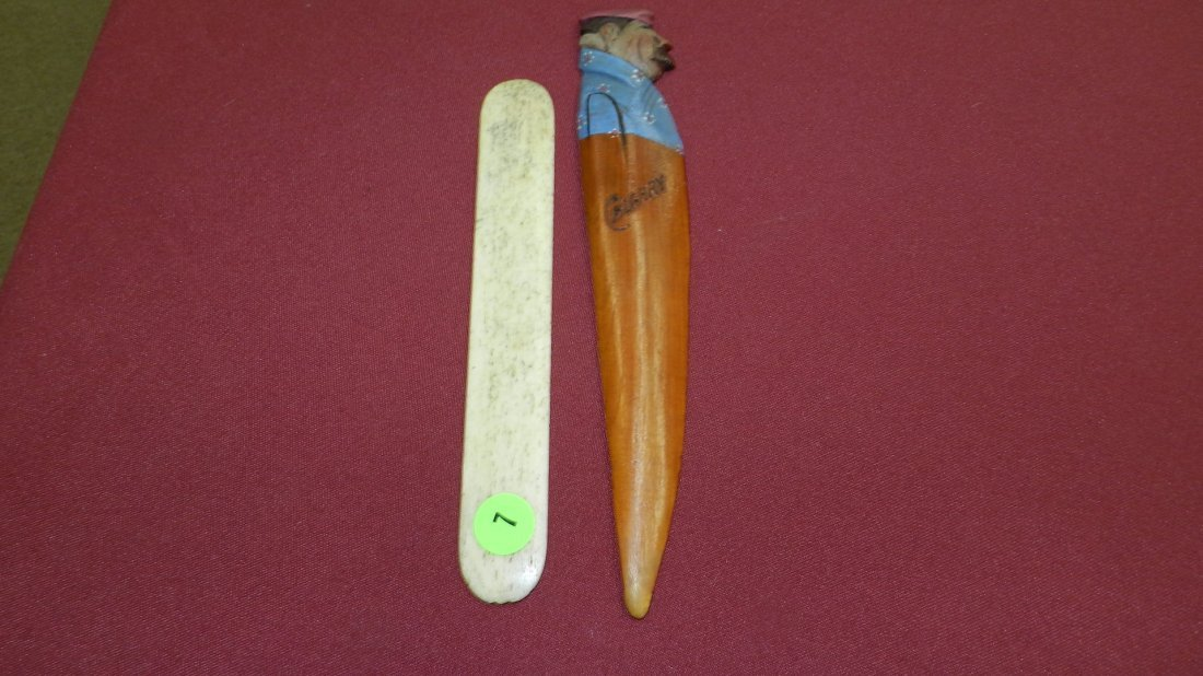 2 pc. Antique letter openers. One Ivory / Bone, other (