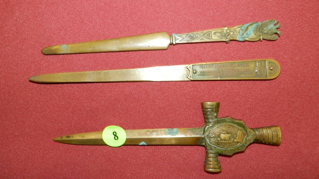 3 pc. Antique letter openers. Bronze, various designs o