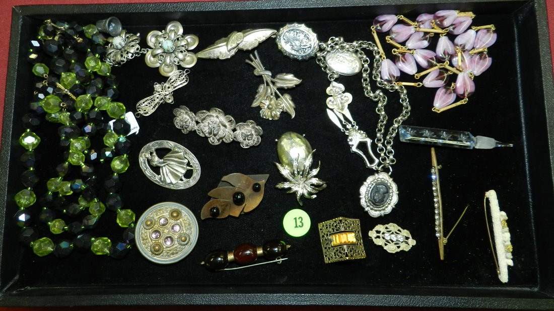 Nice tray of Vintage to Antique jewelry, Cond. G as see