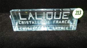 Rare French Lalique crystal dealer display sign CON