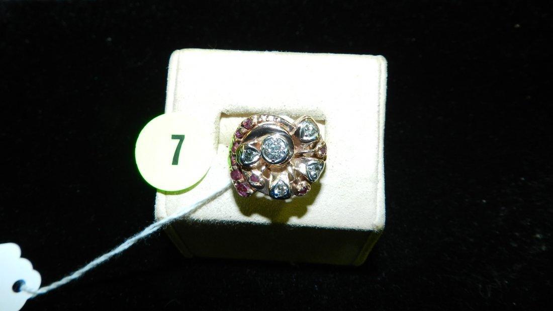 unique Rose gold Euro cut Diamond Ring set 14KT rose
