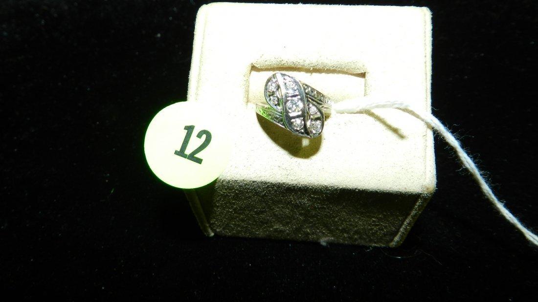unique ladies Euro Cut Diamond ring set in White 14KT