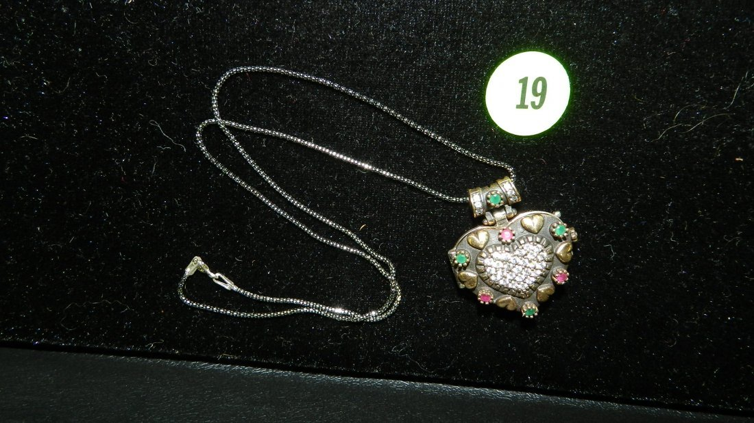 Ruby, Emeralds, Sterling & Gold Heart locket necklace