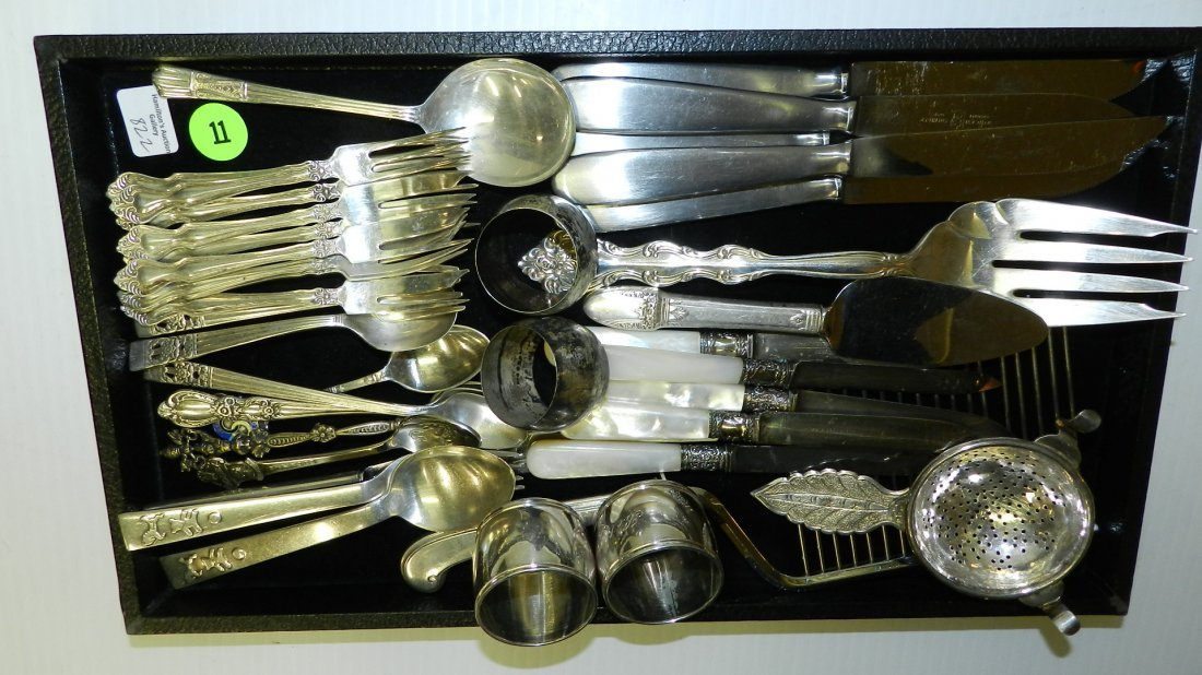 nice tray of mostly silver plated & Demark flatware etc