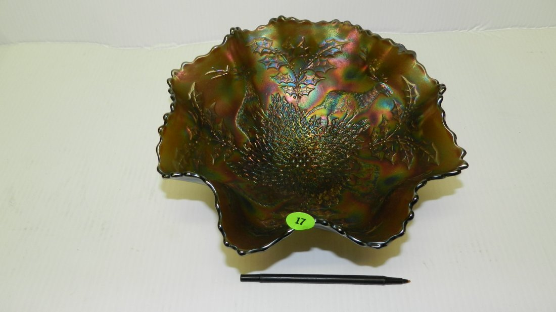 lovely large vintage carnival glass footed bowl with
