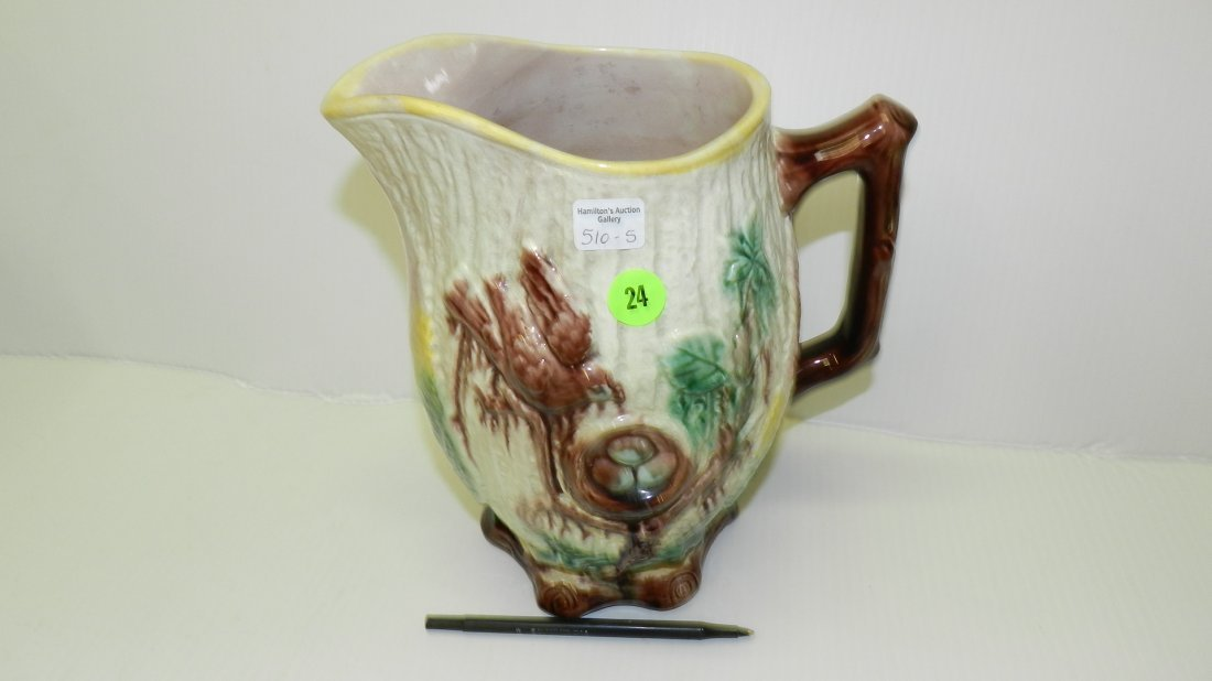 vintage Majolica bird in nest pitcher, cond VG age