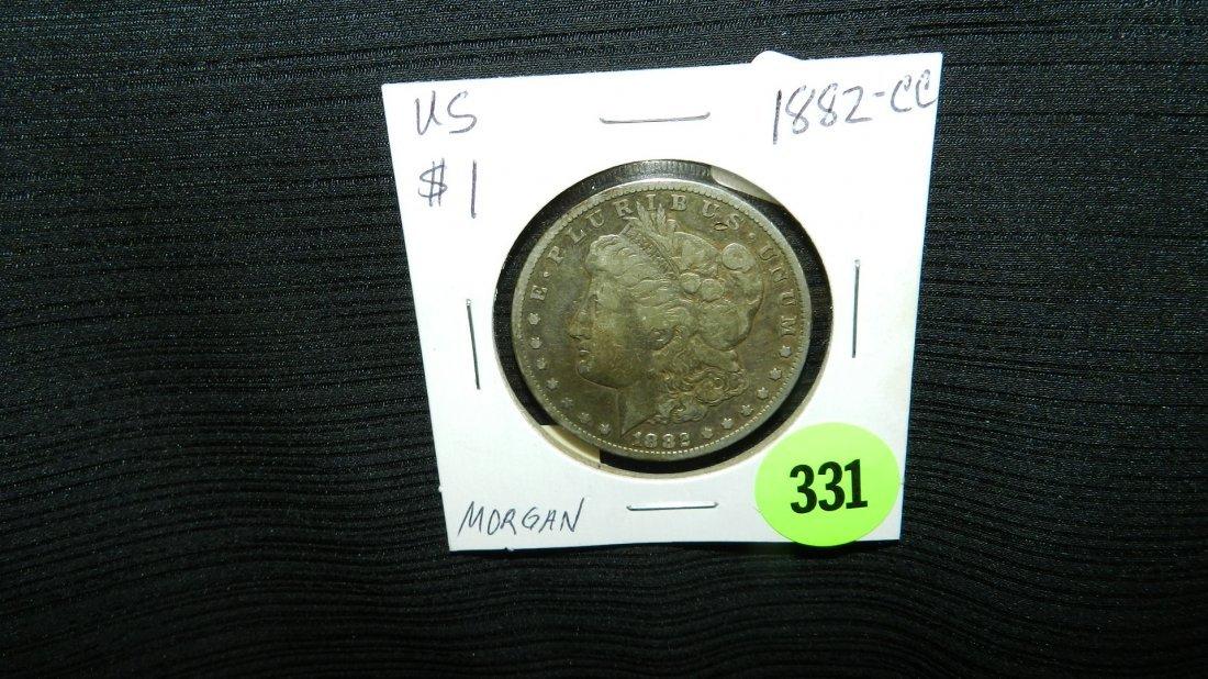 US Morgan silver dollar, 1882-CC Carson City