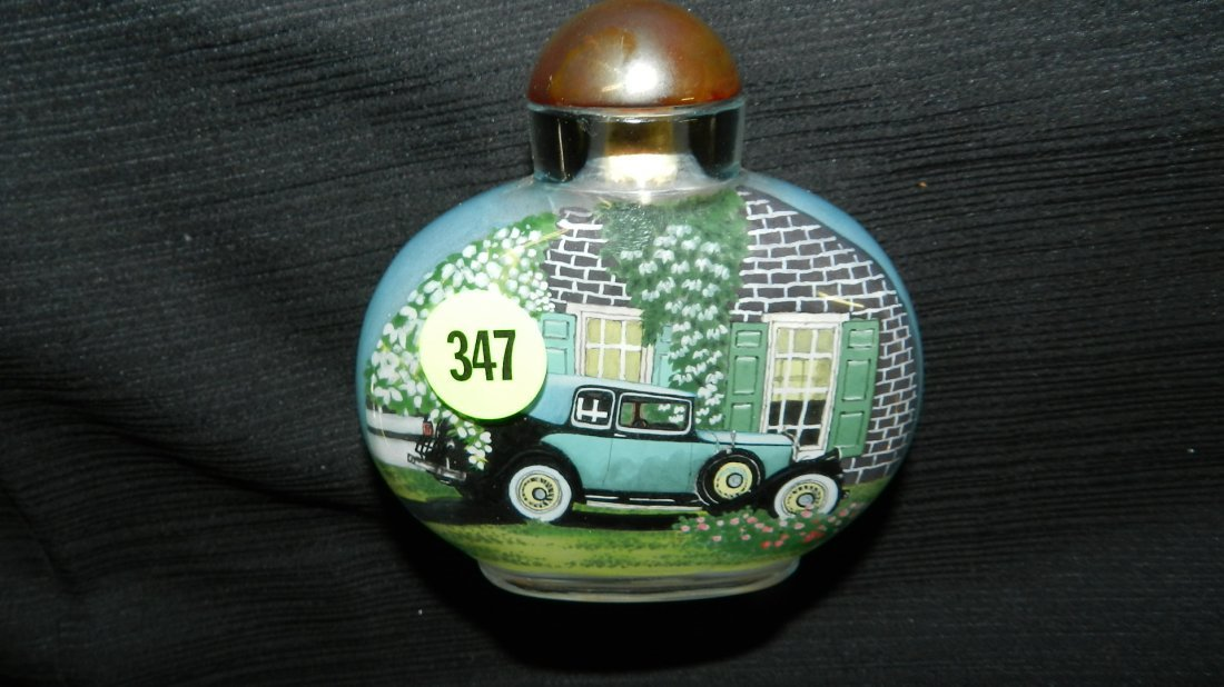 lovely Asian reverse painted glass snuff bottle with am