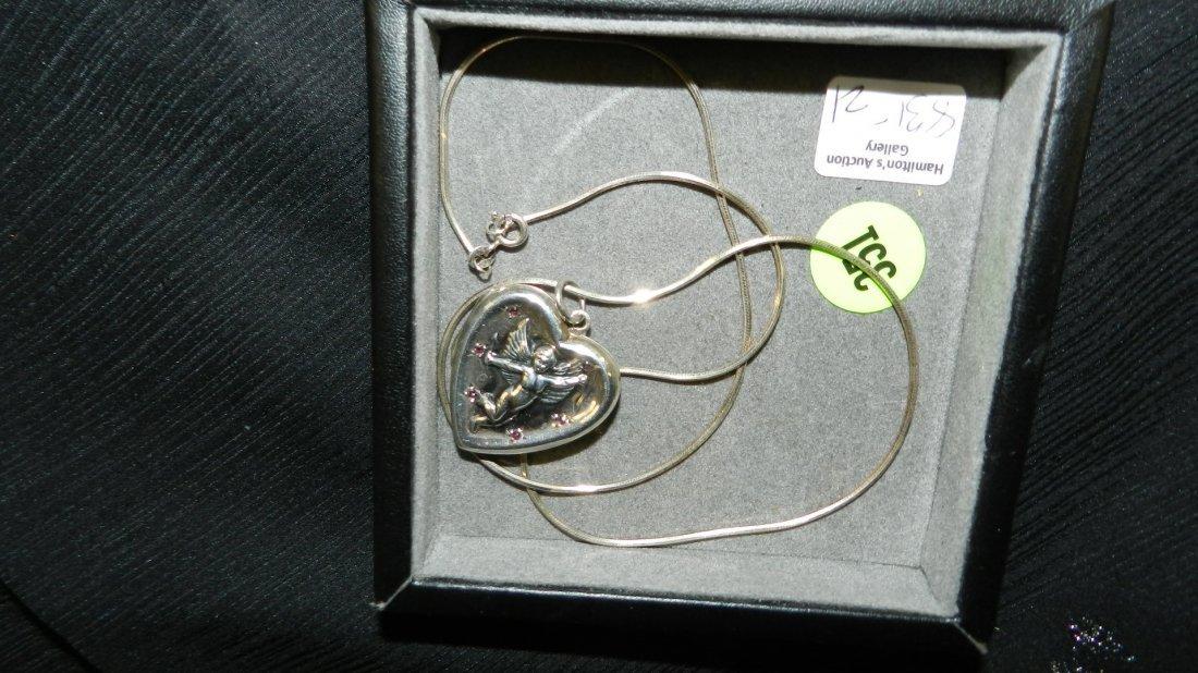 nice ladies sterling silver chain & heart Cupid locket