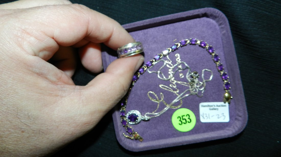 3 piece sterling silver and Amethyst cut stone necklace