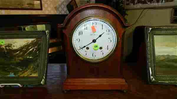 vintage Seth Thomas mahogany mantle clock with inlay fl